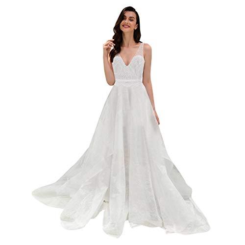 Janly - Vestido de novia elegante para mujer, estilo casual, liso, cuello en V, encaje de tela, para el día de San Valentín, blanco, M