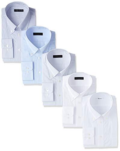 【Amazon.co.jp 限定】[KONAKA(コナカ)]メンズワイシャツ ビジネスベーシックスタイル メンズ各色ボタンダウンシャツ5枚組 長袖 豊富な8サイズから選べる 形態安定加工 5枚組セット KZ_YS-MR-BD-5 メンズ 白織柄(ドビー) 日本 43-82-LL (日本サイズ2L相当)