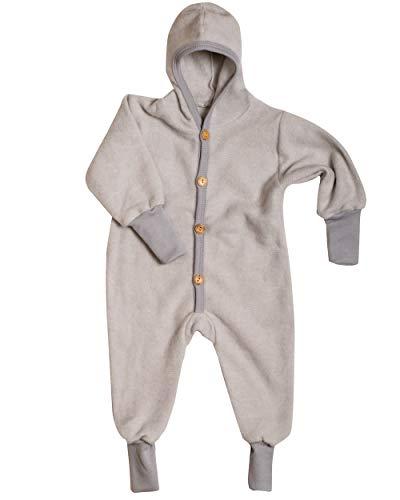 Cosilana Baby Kinder Fleece Overall mit Bündchen am Armen und Füßen, 60% Wolle (kbT), 40% Baumwolle (KBA) (86/92, Grau Melange)
