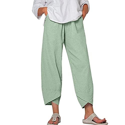 MFFACAI Pantalones de Lino para Mujer Pantalones de Verano Pantalones de Lino Sueltos Pantalones de Playa Pantalones de Ocio Pantalones de Algodón Pantalones Anchos Cómodos Suaves Ocasionales