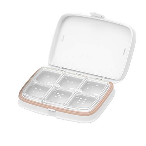 Pastillero portátil Medicación Llevar Suplemento Estuche Pastillero Organizador de contenedor con 6 compartimentos extraíbles para viajes al aire libre Bianco ⭐