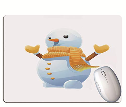 Gaming Mouse Pad, Cute Snowman With Scarf, Durable Rubber, Solid Color Background,...