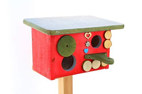 ÖLBAUM Vogelhaus XL-Nisthöhle Nisthaus, Nistkasten für Vögel im Bayern Deko Design, Einflug ca. 28 mm (26-28 mm), mit Landebahn + Fenster mit Abdeckung, Haus rot, Anflug grün, Dach grau