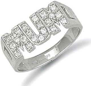 c6989f5eb32a6 9ct White Gold 19mm Cz Mum Ring - P: Amazon.co.uk: Jewellery