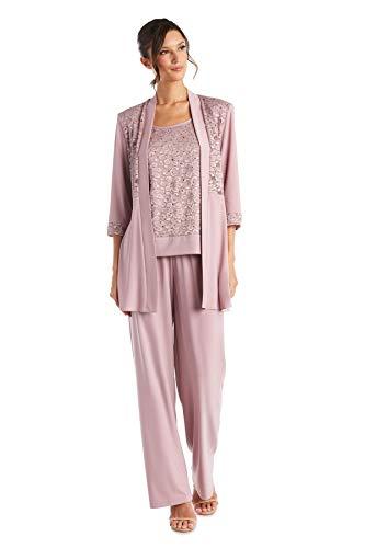 R&M Richards Women's Lace ITY 2 Piece Pant Suit - Mother of The Bride Outfit, 16 Mauve