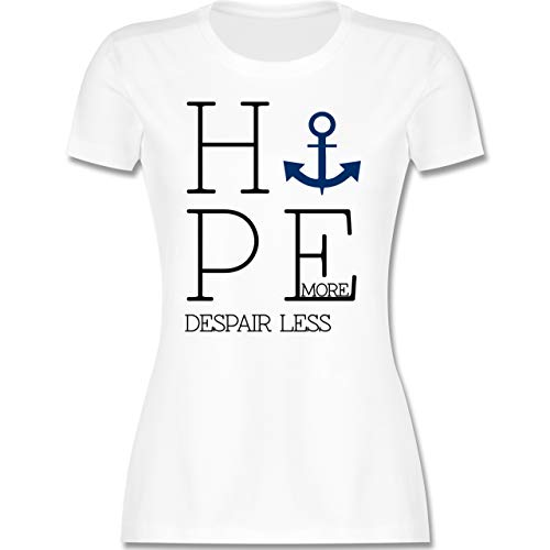 Statement - Hope More Despair Less - S - Weiß - More&More Damen - L191 - Tailliertes Tshirt für Damen und Frauen T-Shirt