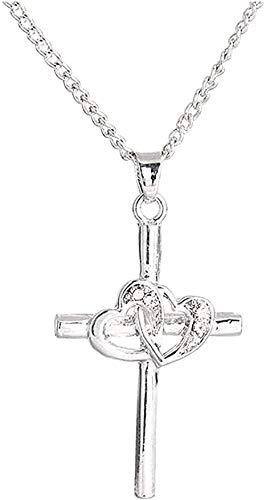 NC110 Collar Zircon Cross Lady Collar Collar de clavícula Collar en Forma de corazón Joyas de Pareja Collar con Colgante Regalo para niños YUAHJIGE