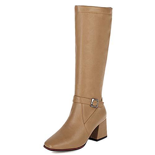 SJJH Botas altas para mujer con diseño sencillo, color Negro, talla 39 EU