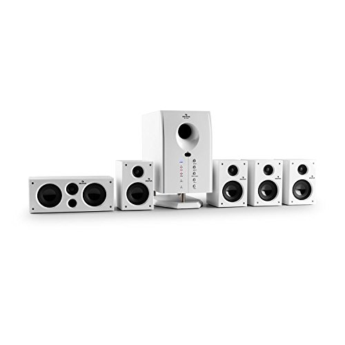 auna Areal 525 BK 5.1 surround sound-systeem Home cinema-systeem (125 watt RMS, actieve mono-subwoofer, 5,25