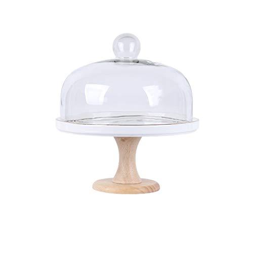 SZQ-Kuchenstand Glaskuchen Dome, Runde Dessert Abdeckung Küche Staubschutz Brot Pizza Tablett Keramikplatte Holzsockel Rutschfester Durchmesser 20-28 cm Käseplattenabdeckungen
