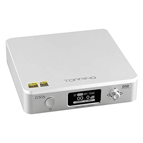 Review Topping D50s DAC Bluetooth 5.0 Hi-Res Audio Decoder, CSR8675 ES9038Q2M XMOS XU208 DSD512 32Bi...