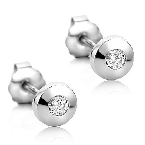 Orovi Damen Ohrringe mit Diamanten Weißgold Solitär Ohrstecker 18 Karat (750) Gold und Diamant Brillanten 0.08 Ct Ohrring Handgemacht in Italien