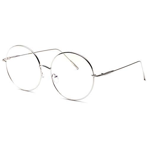 大きめ 丸メガネ 華奢 ステンレス フレーム 伊達メガネ 眼鏡 サングラス (シルバー) [並行輸入品]