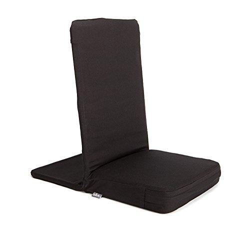 MANDIR Bodenstuhl mit gepolsterter Rückenlehne, Meditationsstuhl mit extra-dickem Sitzkissen (schwarz)