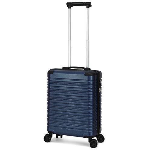 Trolley ORMI bagaglio a mano 55x40x20 rigido 4 Ruote con lucchetto TSA per Ryanair EasyJet (Blu)
