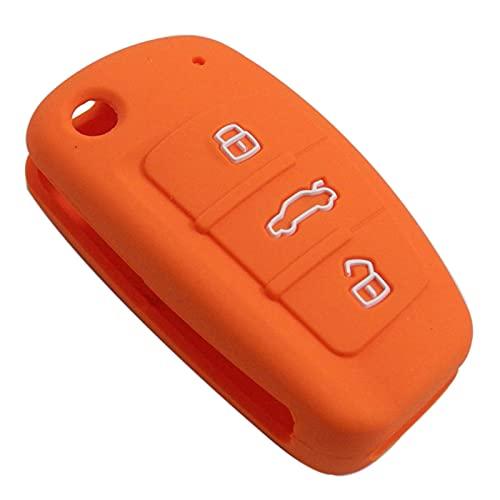 SHUAI Carcasa de silicona para llave de coche con 3 botones para Audi C6, A7, A8, R8, A1, A3, A4, A5, Q7, A6, C5, color naranja