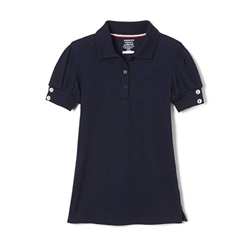 French Toast Big Girls' Puff Sleeve Double Button Polo, Navy, 7