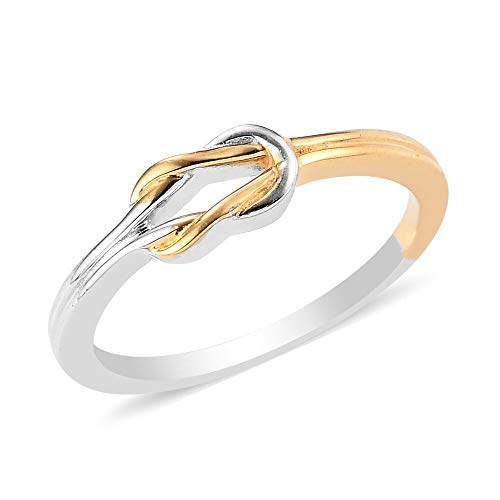 TJC Knot Band Ring for Women in Yellow Gold and Platinum Plated 925 Sterling Silver with High Gloss Forever Love Jewellery Size T