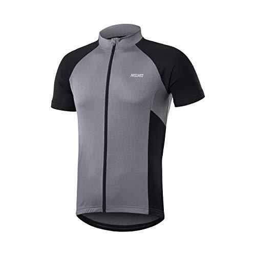 ARSUXEO Men's Short Sleeves Cycling Jersey Bicycle MTB Bike Shirt Zipper Pocket 655 Grey Size Large
