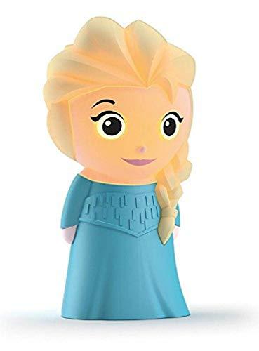 Philips Disney SoftPal Elsa Frozen - Lámpara portátil para niños, LED, luz blanca cálida, 0,18 W, color azul