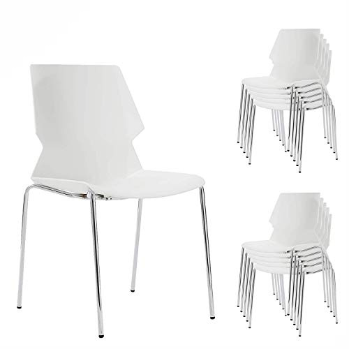 NOVIGO White Stacking Chair with Lumbar Support and Solid Steel Frame for School Training Conference Waiting Room 10 Chairs