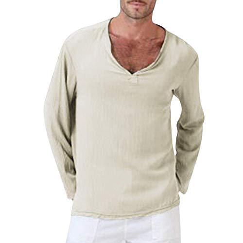 Hombre Camiseta Chic Blusa Ropa Yoga Tops Friends Camiseta para Manga Larga Algodón Lino Tailandés Hippie Camisa Cuello En V s s Camiseta Tops Tops (Color : Khaki, Size : L)
