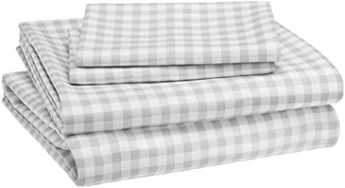 Amazon Basics Kid s Sheet Set Soft Easy Wash Lightweight Microfiber Full Gingham Plaid product image
