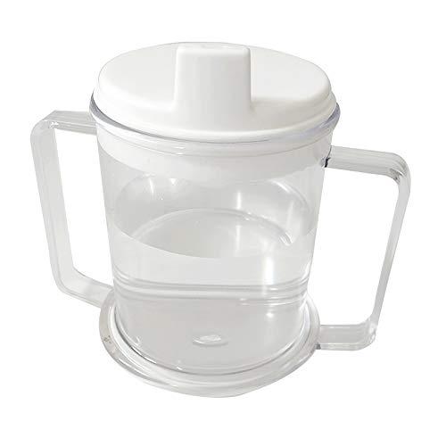 Milageto Taza de Plástico Transparente con 2 Asas para Sorber, 10 Oz. Vaso para Beber para Niños Adultos Mayores