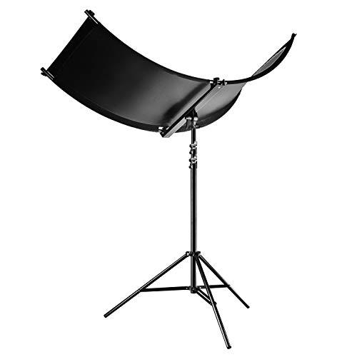 Walimex pro 3in1 Reflektor Halfpipe Set mit Stativ - Set Konkavreflektor und Lampenstativ für Fashion und Beauty Fotografie, Reflektorstoffe Silber, weiß und Wavy Gold, inklusive Lichtstativ