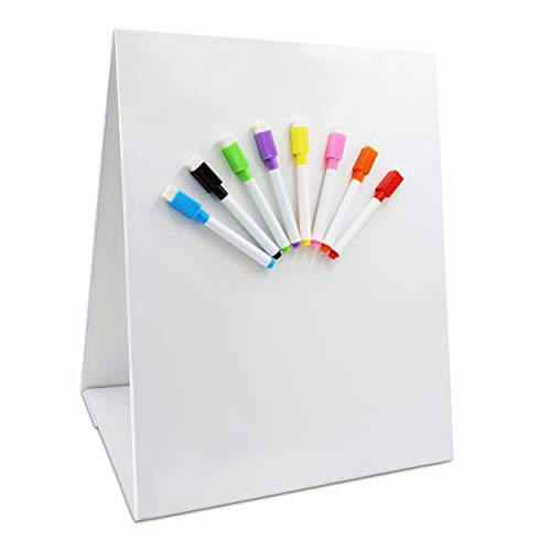Magnetic Tabletop Desktop Easel &Whiteboard with Bonus 8X Dry Erase Markers. Double...