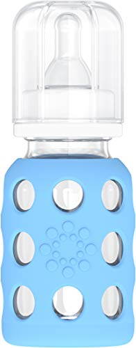 Lifefactory 4-Ounce BPA-Free Glass Baby Bottle with Protective Silicone Sleeve...