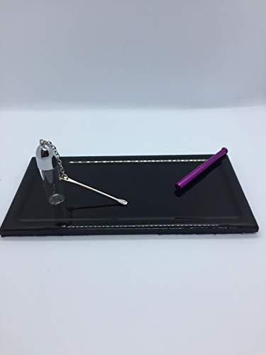 Accesorio de paja Snorter Sniff + soporte biselado negro brillante 10 x 20 cm + frasco de cristal con cuchara 5,5 cm/1,5 cm
