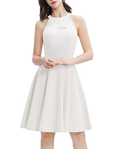 Bbonlinedress Damen Cocktailkleid Elegant Kleid Abendkleider Rockabilly Kleid Retro Vintage Neckholder Kleider Brautkleid Ivory M