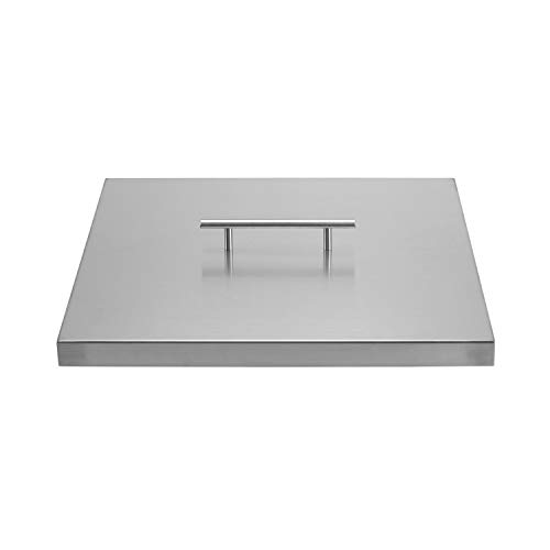 """Celestial Fire Glass Fire Pit Cover for 12"""" Square Burner Pan (15' Actual Size), Stainless Steel"""