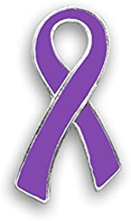 Pancreatic Cancer Awareness Large Flat Purple Ribbon Pin in a Gift Box