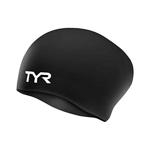 TYR Long Hair Wrinkle-Free Silicone Swim Cap, Black