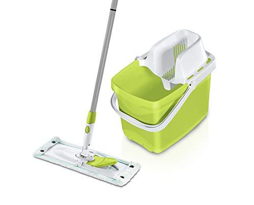 Leifheit Set Combi M Color Edition Green, mit rückenschonendem Wischer, Wischtuchpresse für effektives Auswringen, 20L Putzeimer, reinigungsstarker Bodenwischer mit Click-System