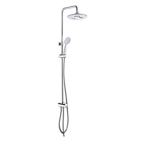 Tiger Chuva Duschsäule mit Regendusche, Edelstahl verchromt, höhenverstellbares Duschsystem, Wasserfall-Funktion, inkl. 2 Edelstahl-Brauseschläuchen