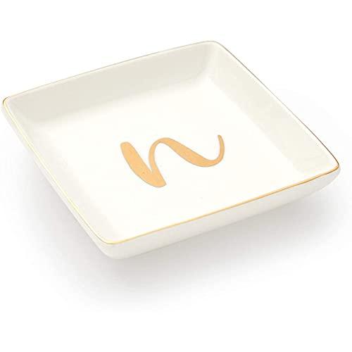Letter N Ceramic Trinket Tray, Monogram Initials Jewelry Dish (4 x 4 Inches)