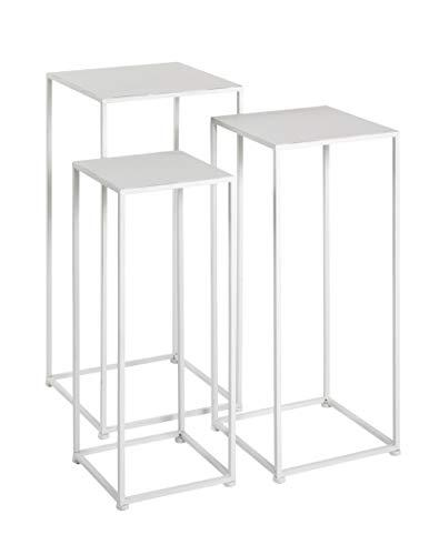 Haku-Möbel Set di 3 colonne per Fiori, Metallo, Bianco, T B 22/26/30 x H 61/66/71 cm