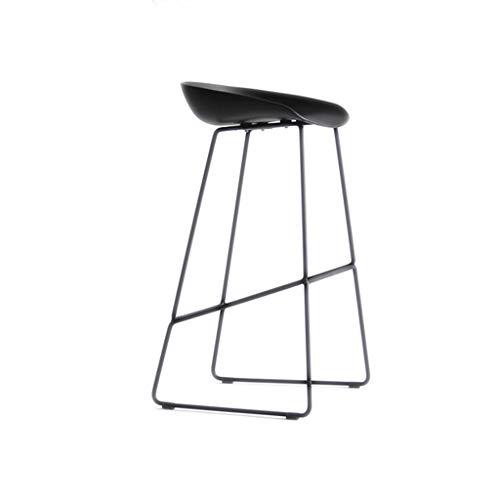 hsj WDX- Taburete de bar moderno silla de bar simple silla de bar creativa moda alta taburete de acero inoxidable bar alta silla cómoda (color: negro, tamaño: 76 cm)