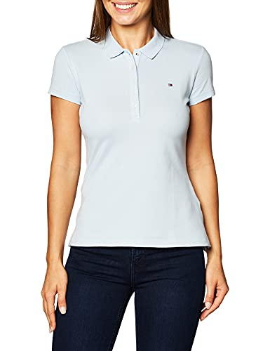 Tommy Hilfiger Slim Fit Polo Shirt Camiseta, Azul (Breezy Blue), XXL para Mujer