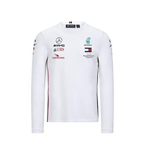 Mercedes-AMG Petronas Official Formula One Motorsport 2020 - Camiseta de Equipo de Manga Larga en Color Blanco - XS