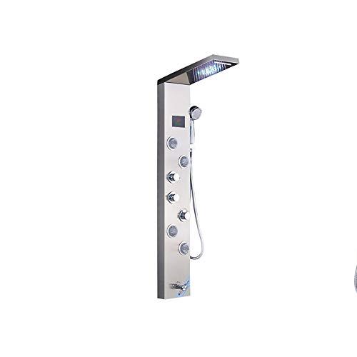 Sistema De Ducha con Pantalla Digital Sistema De Masaje con Cabezal De Ducha Tipo Lluvia Manija Baño 6 Interruptor De Función Montado En La Pared,I