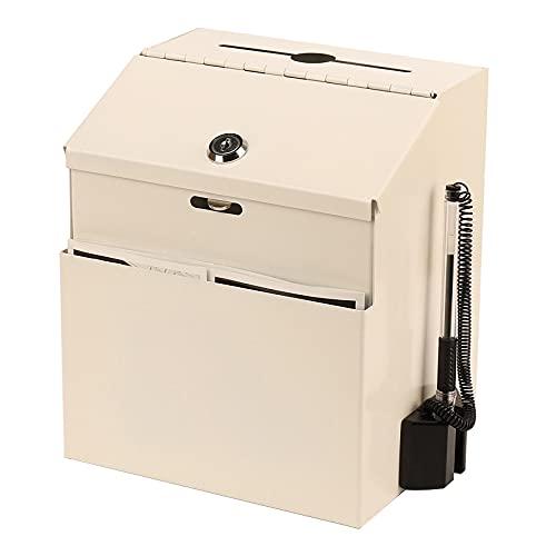 JYYX Buzón de Sugerencias de Buzon de Metal para Montar En La Pared con Cerradura - Caja de Donaciones - Caja de Recolección - Urna - Caja de Entrega de Llaves (Negro, Blanco)