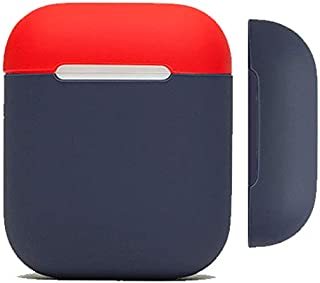Protective Two Toned Airpods Case {Made of 2 pcs} Shock Proof Soft Skin for Airpods Charging Case (Red+Midnight Blue)