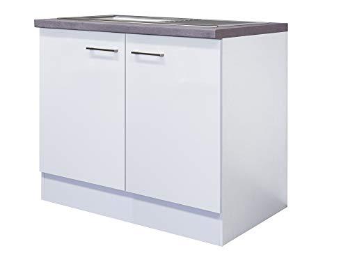 Smart Möbel Komplettspüle 86 cm mit 100er Unterschrank Weiß - Nawa