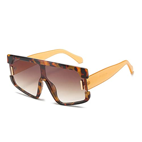 FENGHUAN Gafas de Sol cuadradas de Gran tamaño de una Pieza a la Moda para Mujer, Gafas de Sol congradiente de uñas Vintage para Hombre,Grandes Sombras Leopardtea