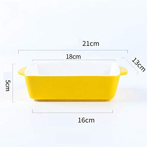 Ouqian Plat de Cuisson 2 Pièces Assiette de fromages au Four Micro-Ondes Riz Bol Plaque en céramique Occidentale Alimentaire Moule à pâtisserie Lasagne casseroles (Couleur : B, Size : 21x16x13cm)