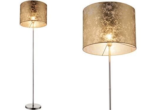 Lámpara de pie con pantalla de tela dorada - Pantalla de tela de 40 cm - Moderna lámpara de pie dorada para salón o dormitorio (altura de 160 cm)